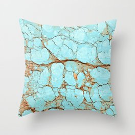 Rusty Cracked Turquoise Throw Pillow