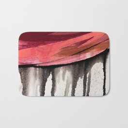 Entangled [4]: a vibrant, colorful abstract mixed-media piece in reds, pinks, black and white Bath Mat