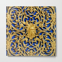 Elegant Antique Gold Botanical Pattern Metal Print