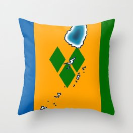 St Vincent and the Grenadines Flag with Island Maps Throw Pillow
