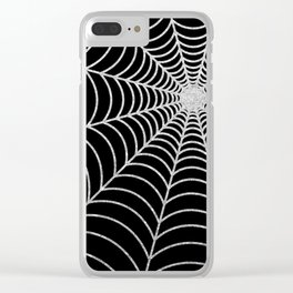 Spiderweb | Silver Glitter Clear iPhone Case