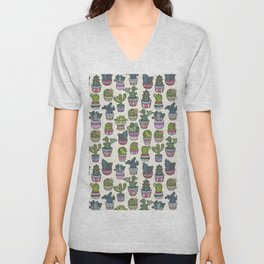 Trendy modern bohemian purple green floral cactus pattern Unisex V-Neck