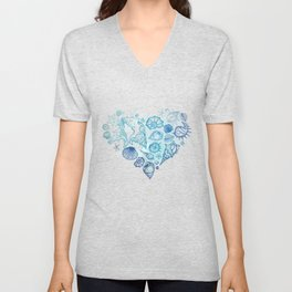 Heart of the shells. Hand drawn illustration Unisex V-Neck