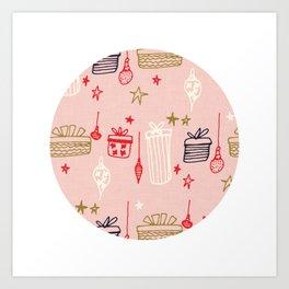 Christmas gift and ornaments Pink Art Print