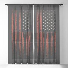 American flag Grunge Black Sheer Curtain