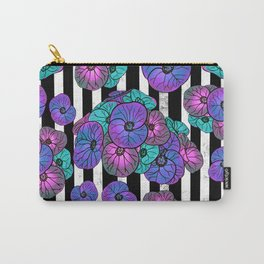 Florals over black and white stripes Carry-All Pouch