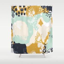 Tinsley - abstract painting minimalist decor nursery dorm college art gold navy Shower Curtain
