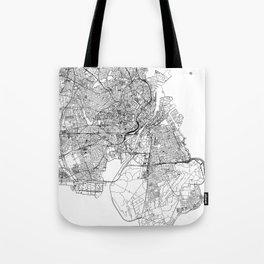 Copenhagen White Map Tote Bag