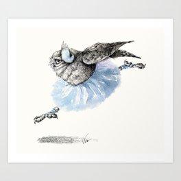 Owl lake - White Owl Art Print