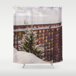 Mountain architecture colorful Shower Curtain