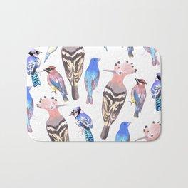 Birds watercolor in tetrad color scheme Bath Mat