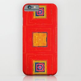 Abstract Irregular Pattern Art in Red, Orange and Blue iPhone Case