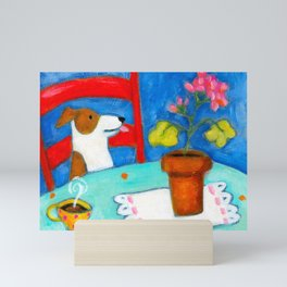 Jack Russel Terrier at table with geraniums Mini Art Print