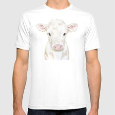 Baby White Cow Calf Watercolor Farm Animal LARGE Mens Fitted Tee White