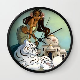 Indian and white tiger Wall Clock