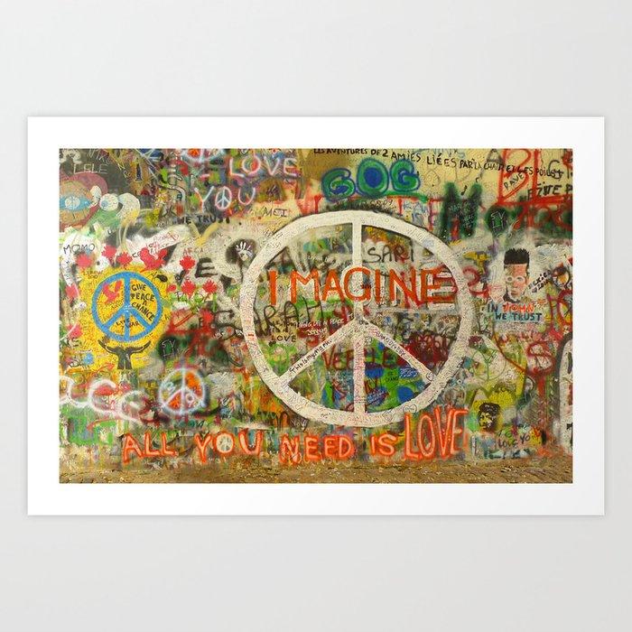 Peace Sign - Love - Graffiti Kunstdrucke