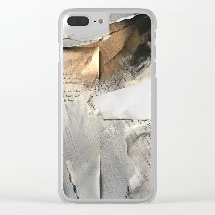 Too Soon | Collage Series 1 | mixed-media piece in gold, black and white + book pages Clear iPhone Case