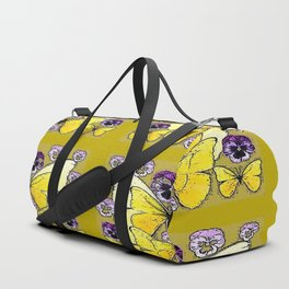 INK DRAWING PURPLE PANSY FLOWERS & YELLOW BUTTERFLIES Duffle Bag