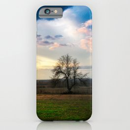 A lonely tree in the field iPhone Case