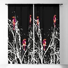 Red Birds Black Blackout Curtain