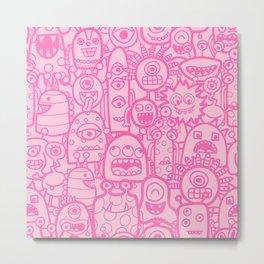 Pink Monsters And Aliens Cute Kids Pattern Metal Print