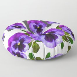 WHITE LILAC & PURPLE PANSY FLOWERS ART Floor Pillow