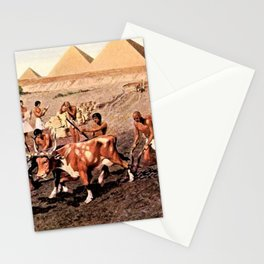 Classical Masterpiece Egyptian Farmers & Giza Pyramids by Herbert Herget Stationery Cards