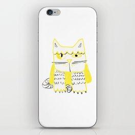 Yellow Black Cat Doodle iPhone Skin