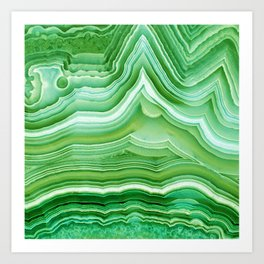 Agate Crystal Green Art Print
