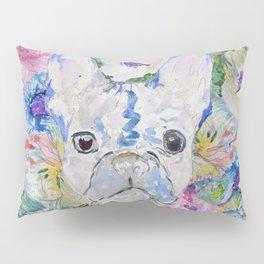 Abstract French bulldog floral watercolor paint Kissenbezug