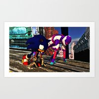 Race with Sonic at Stardust Speedway Art Print