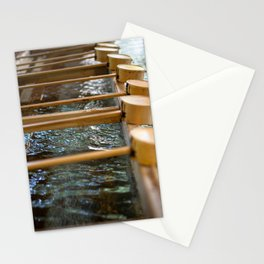 Water basin with bamboo dippers at Meiji-Jingu Shrine in Tokyo, Japan Stationery Cards