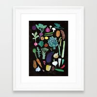vegetables Framed Art Prints featuring Vegetables by The Printed Peanut
