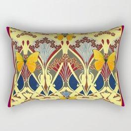 Decorative Yellow Art Nouveau Butterfly Maroon Designs Rectangular Pillow