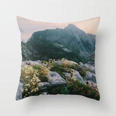 Mountain flowers at sunrise Throw Pillow