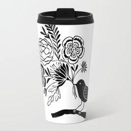 Linocut black an white bird with botanical floral nature printmaking art Travel Mug