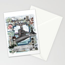 USS Chicago - Pearl Harbor Submarine Service (silver dolphins) Stationery Cards
