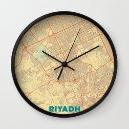 Riyadh Map Retro Wall Clock