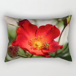 Green On Red Rectangular Pillow