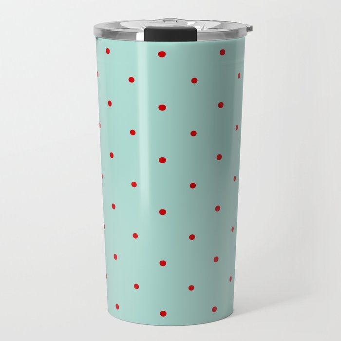 Blue with Red Dots Travel Mug