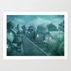 Grimloch Lane - Night Scene Art Print