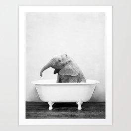 Baby Elephant in a Vintage Bathtub (bw) Art Print