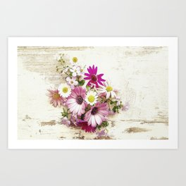 Worn Wood and Wild Flowers Art Print