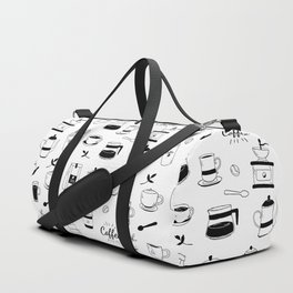 Hand Drawn Black Coffee and Cafe Pattern Duffle Bag