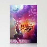 crossfit Stationery Cards featuring CrossFit - Life Begins At the Edge of Your Comfort Zone. by Carlz James Söda