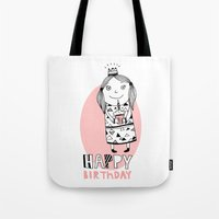 happy birthday Tote Bags featuring Happy Birthday by De Assuncao création