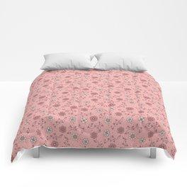 Pink Floral Filigree Comforters