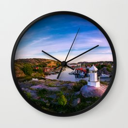 Sunset over old fishing port - Aerial Photography Wall Clock