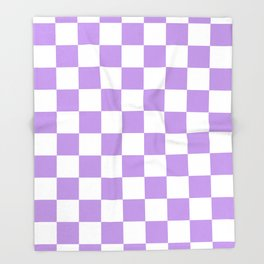Checkered - White and Light Violet Throw Blanket