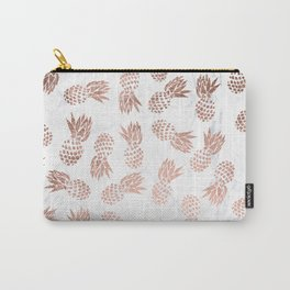 Modern faux rose gold pineapples white marble pattern Carry-All Pouch
